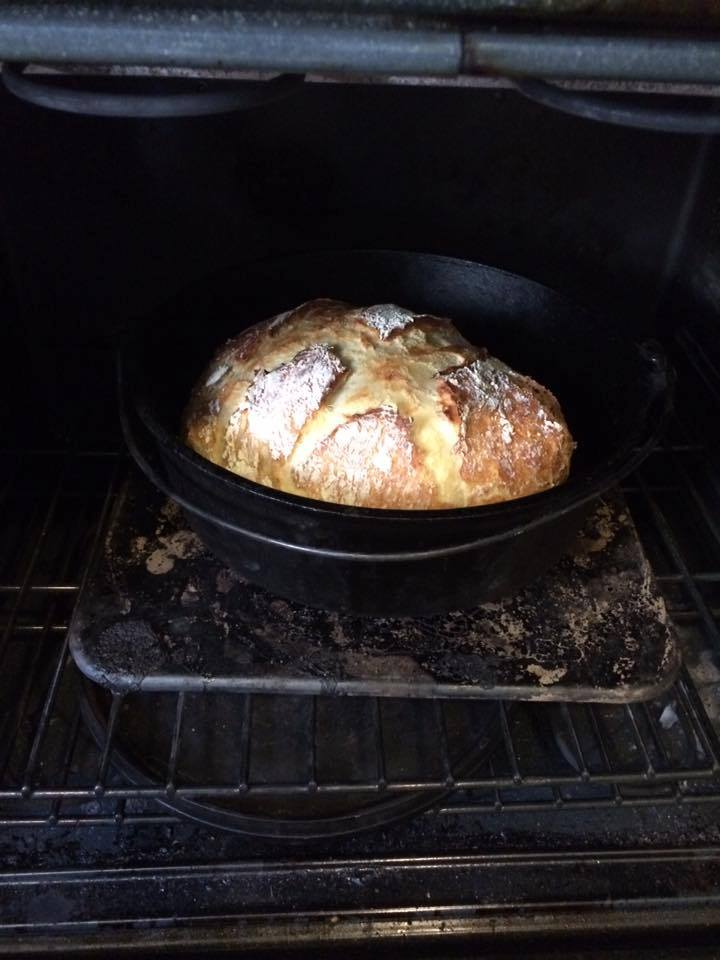 One of my first loaves of no-knead bread in a 12 in. Lodge Dutch Oven.