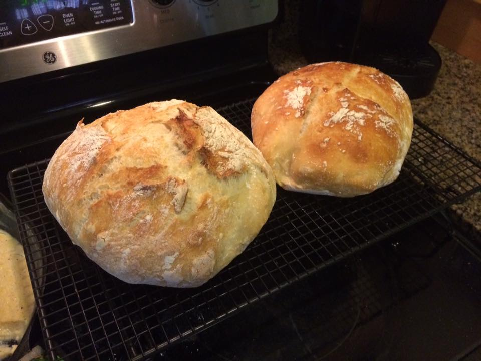 Crusty No-Knead Bread - it has a good thick crust that can be hard to cut through. We bought an electric knife just for when we make this bread. Then you can cut it without destroying the slices. I highly recommend the electric knife.